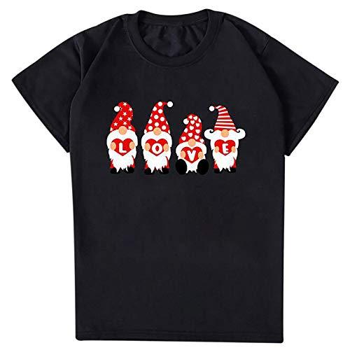 Winkey Mens Camiseta de manga corta para mujer, talla grande, informal, holgada, para San Valentín, con impresión, para primavera y verano negro XXXL