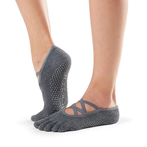 Toesox Calcetines unisex puntera completa Elle Yoga & Pilates Grip, Unisex, calcetines con agarre para Yoga y Pilates, YTOEWTELLEGREY-M, Gris oscuro, M