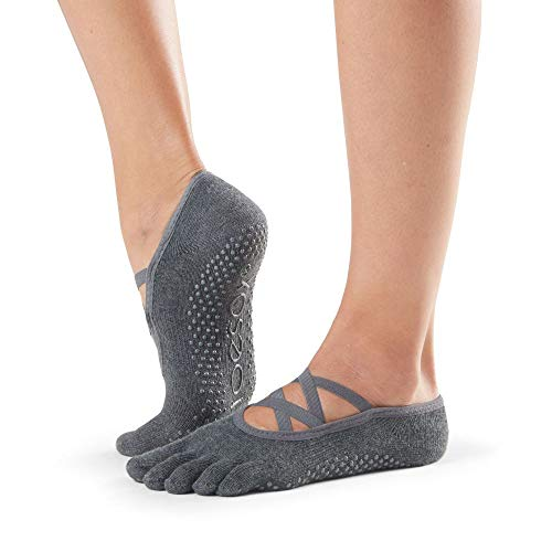 Toesox Calcetines unisex para yoga y pilates, Unisex, calcetines con agarre para Yoga y Pilates, YTOEWTELLEGREY-M, Gris oscuro, M
