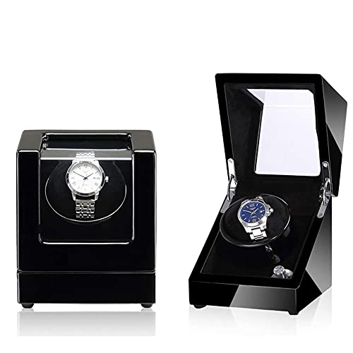 XLAHD Enrollador automático de Reloj, enrollador automático de Reloj con Motor silencioso y Carcasa de Madera, Alimentado por batería o Adaptador de CA, 5 Modos de rotación Simple o Doble (Color: E)