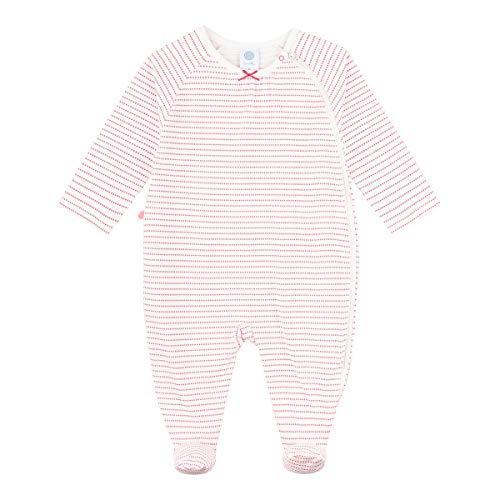 Sanetta Baby-Mädchen Overall Camellia Rose Feiner Strampler Ringel-Dot Design aus 100% Bio Baumwolle, rosa, 098