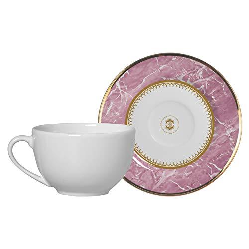 Conjunto Alleanza de 6 Xicaras Chá c/pires Marble Rosa