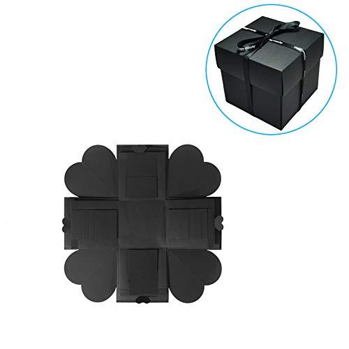 YChoice365 Caja de explosión negra Caja de regalo de álbum de recortes hecha a mano creativa DIY Caja de regalo de sorpresa de bricolaje Explosión de amor