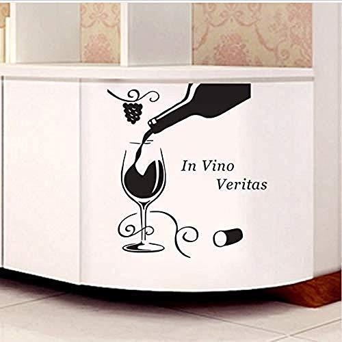 Calcomanía de pared de vinilo removible pegatina de pared copa de vino de sabor medio flor de uva decoración de pared de cocina 59X72Cm