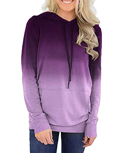 Women's Color Block Hoodie Long Sleeve Drawstring Pullover Sweatshirt With Pocket Purple