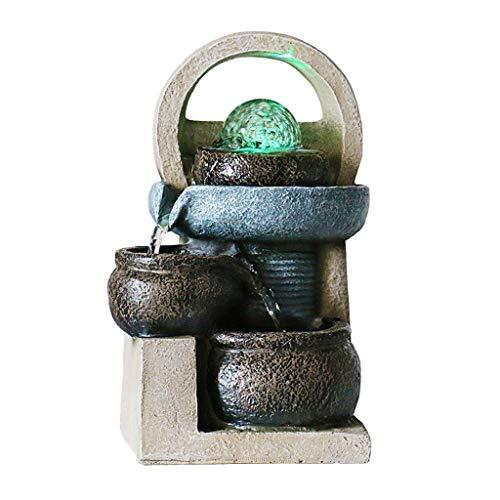 xiaodou Zimmerbrunnenpumpe 3-Schicht-Flowing Water Desktop-Brunnen Home Office Feng Shui Dekoration Simulation Steintopf Garten Terrasse dekorative Brunnen zimmerbrunnen