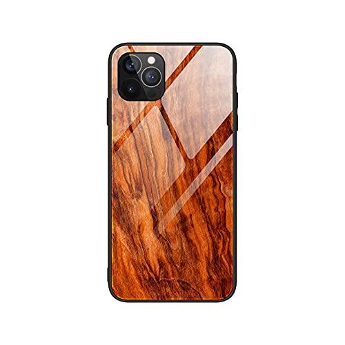Funda de vidrio templado duro para iPhone 12 11 Pro X Xs Max Xr 6 S 8 7 Plus Shell Retro madera teléfono móvil cubierta trasera parachoques para iPhone 12