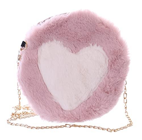 Kawaii-Story Faux-Fur LB-7044-2 - Borsa a tracolla da donna, motivo a cuore, colore: Rosa