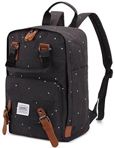 Rucksack Damen Herren Schulrucksack,KAUKKO 15 Zoll Backpack Kinder Laptop Rucksack Lässiger Daypacks für Wander Outdoor Reise (Schwarz)
