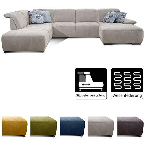 CAVADORE Wohnlandschaft Tabagos / U-Form mit Ottomane links / XXL Sofa mit Sitztiefenverstellung / Verstellbare Rückenlehnen / 364x85x248 / Grau-Weiß