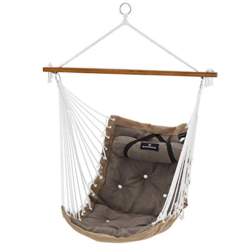 SONGMICS Hammock Chair with Pillow, XL Padded Swing Chair with Bamboo Bar, 70 x 120 cm, Load Capacity 200 kg, Indoor and Outdoor, Brown and Khaki GDC46CG