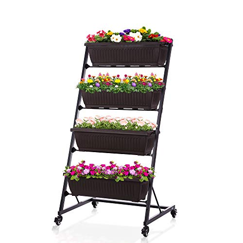 Taleco Gear Vertical Raised Garden Bed Garden Freestanding Elevated Planter with 4 Container Boxes for Patio Balcony Indoor and Outdoor X
