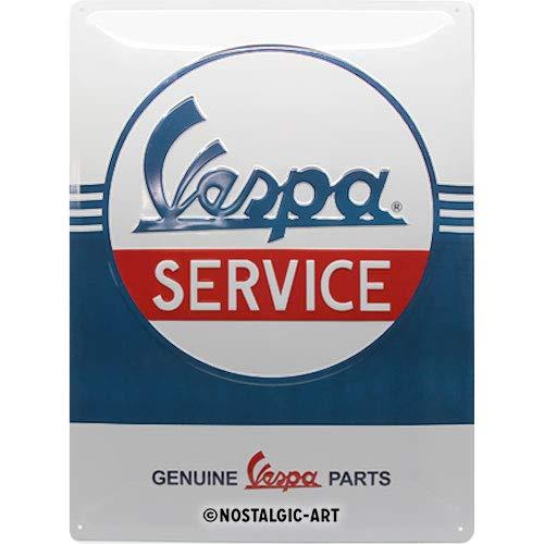 Nostalgic-Art Cartel de Chapa Retro Vespa – Service – Idea de Regalo para los Aficionados a Las Scooters, metálico, Diseño Vintage, 30 x 40 cm