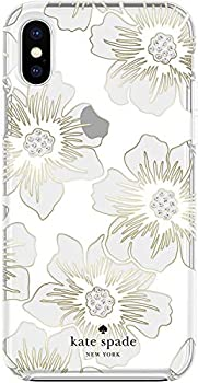 Kate Spade New York Phone Case for Apple iPhone X/XS Protective Soft Cover Slim Bumper Anti Scratch Reverse Hollyhock Floral Gems White/Clear