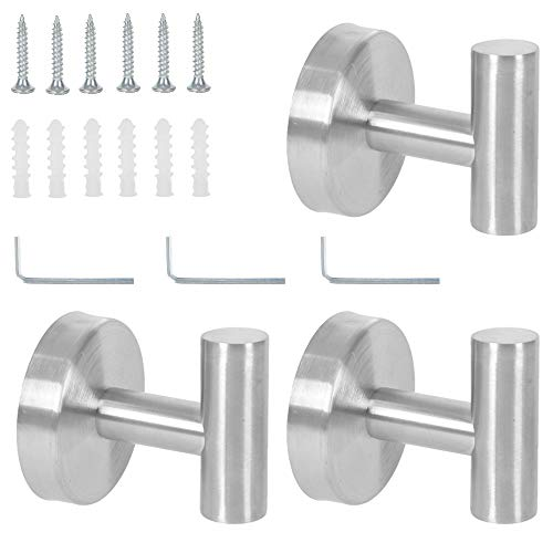 3 Pack Bath Towel Hooks SUS 304 Stainless Steel Coat Hook Heavy Duty Round Clothes Robe Garage Cabinet Hook Holder for Kitchen Hotel Wall Mounted Door Hanger Brushed Nickel