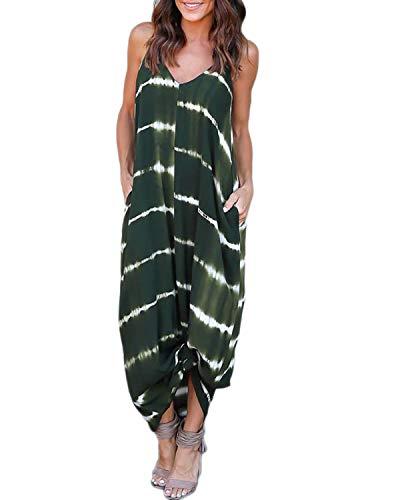 VONDA - Vestido largo para mujer, cuello en V, con tirantes, vestido largo de playa Verde Ejercito Verde S