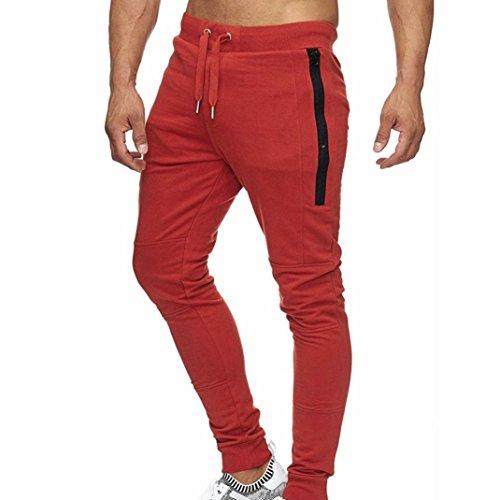 Paolian Pantalon de Sport d'entraînement pour Hommes, Taille élastique à Cordon de Serrage et Pantalon décontracté Confortable (XL, Rouge)
