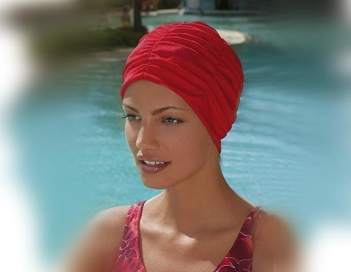 Fashy Ladies Swimming Hat Bathing Cap Turban Style Red