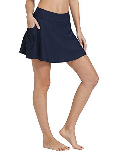 BALEAF Women's High Waisted Swim Skirt Bikini Tankini Bottom with Side Pocket Navy Size M