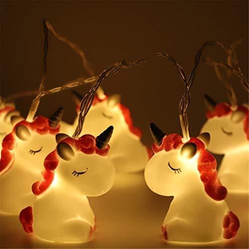 LED Lichterkette Einhorn Design Batteriebetrieben Deko für Garten, Bäume, Terrasse, Weihnachten, Hochzeiten, Partys (Buntes Einhorn)
