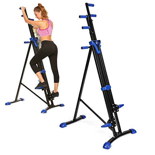 OppsDecor Vertical Climber Exercise Folding Climbing Machine Fitness Stepper Exercise Machine Stair Climber Cardio for Home Gym (US Stock) (Blue)