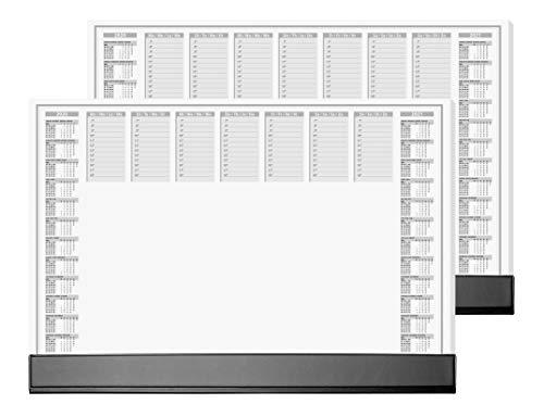 SIGEL HO365/2 Papier-Schreibunterlage mit Schutzleiste, ca. DIN A2 - extra groß, 2-Jahres-Kalender 2020 2021, 40 Blatt, 2er Pack