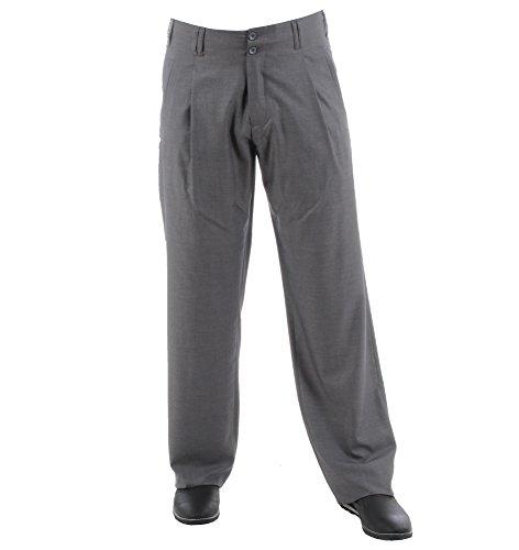 Herren Bundfalten-Hose in Grau, Retro-Vintage Swing Lindy Hop Outfit, Model Swing Größe 62