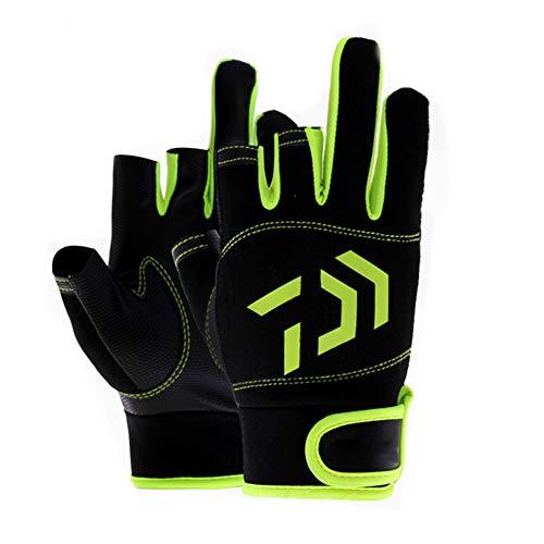 C/N 1 par de guantes de pesca sin dedos de 3 dedos de alta calidad, guantes acolchados con palma impresa para la mejor experiencia de pesca en kayak (verde y negro)