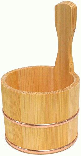 ダイワ産業 桶 風呂桶 湯桶 手桶 木製 さわら 防カビ 撥水加工 日本製 銅タガ 直径14×高さ24cm YS-5
