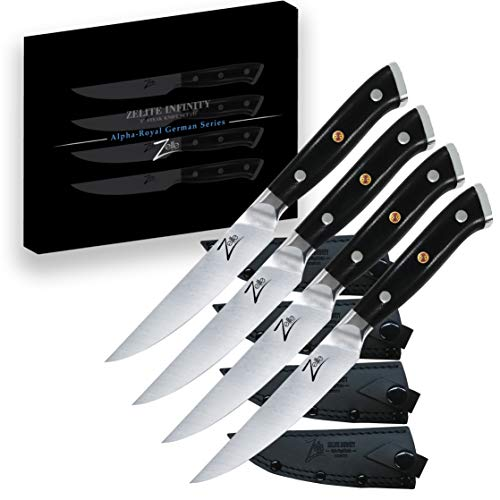 Steak Knife Set of 4 by Zelite Infinity - Alpha-Royal Series - German High Carbon Stainless Steel - for Restaurant and Home Kitchens, Premium Materials, Ultra Sharp, Forged Blades