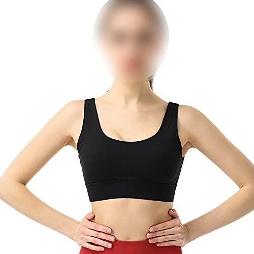 QYXANG Sujetador Deportivo para Mujer Bra Deporte Cruzados Espalda Sin Anillo Sin Espalda De Acero Chaleco Transpirable Confort Deporte Sin Costuras Top,Negro,L