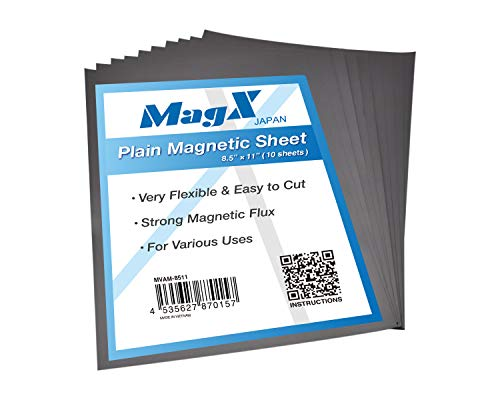 MagX Super Thick Plain Magnetic Sheets, 10 Pack, 30 mil, Flexible Magnet Sheet 8.5' x 11', Magnets on One Side, Magnetic Mats Black for Storing Craft Cutting Dies, Office and Home Supplies
