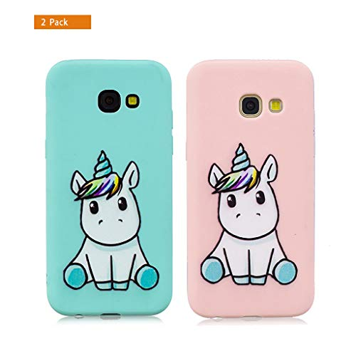 E-Flamingo [2 Pack] Funda Compatible con Samsung Galaxy A5 2017 Unicornio Rosa y Verde Suave Flexible Silicona Gel Bumper Cover Inquebrantable Carcasa