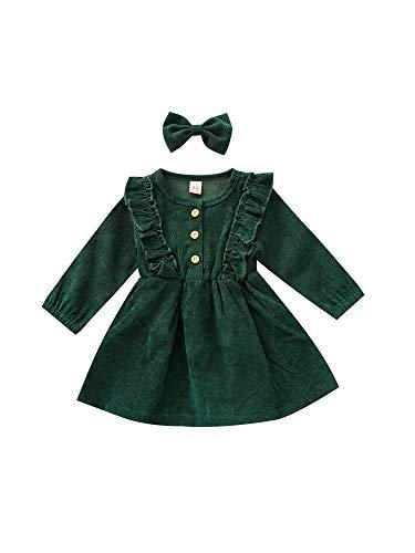 Vestido de bebé niña, cintura alta, media media, manga larga, cuello redondo, botones con volantes, falda plisada de princesa, diadema