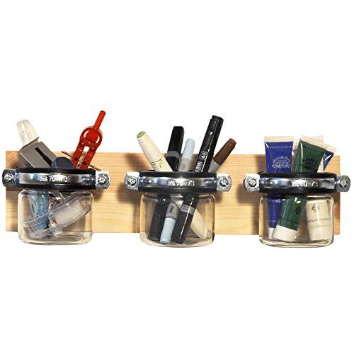 ultiMade Wandregal aus Kiefer geölt 40x10x1,8cm mit Gläsern zur Aufbewahrung von Büroartikeln wie Stifte & Farben Schreibtisch Organizer Büroregal Stiftehalter Hängeregal inkl. Befestigungsmaterial