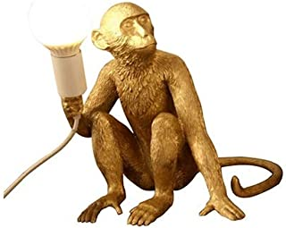 LHJ-fashion Monkey Light Design Table Lamp Resin Personality Cartoon Cafe/Children's Room/Bedroom Creative Monkey Lamp 34 30 42cm (Color: Black, White, Gold) (Color : Gold)