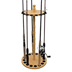 UNIQUE FISHING ROD STORAGE: Round fishing pole rack stores and displays up to 16 rod and reel combos (rods not included) HANDCRAFTED WOOD POST: Durable wood grain laminate makes for a traditional looking rod rack to blend in seamlessly with your déco...