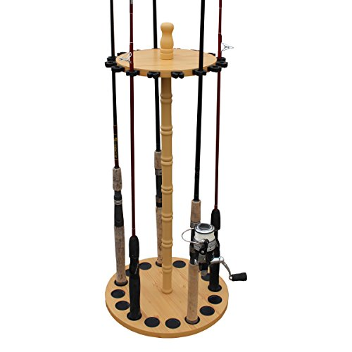 Rush Creek Creations Round 16 Fishing Rod Rack - Fishing Pole Holder and Storage, Wood Grain Laminate