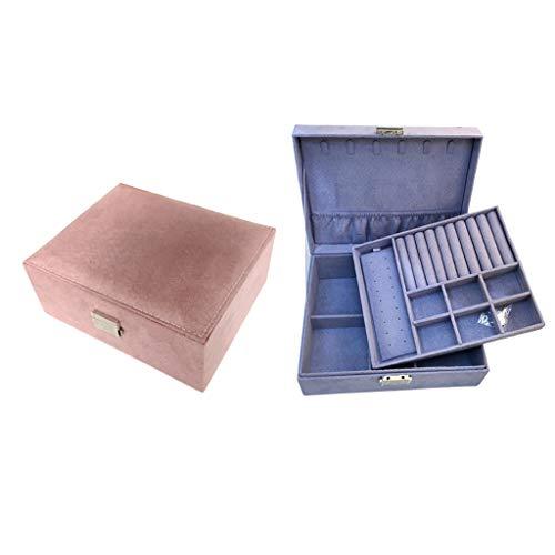 Bonarty Caja de Almacenamiento de Joyería de Doble Capa de Gran Espacio, Caja de Exhibición de Tesoro