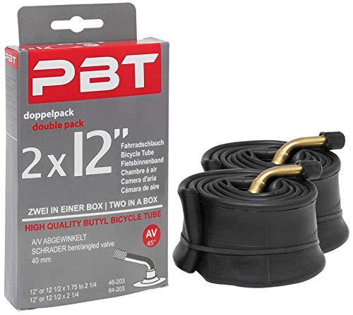 pbt Cámara de aire acodada de 2 x 12 pulgadas para cochecitos o ruedas y más – 12 1/2 x 1,75 hasta 2 1/4 – Rosca niquelada – Pack doble Edition 2021
