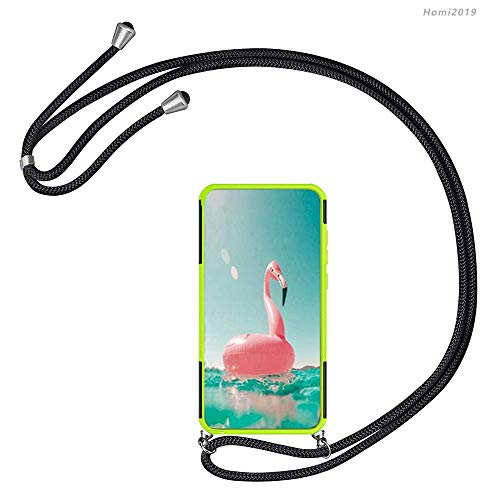 Homi2019 Case for Lenovo A6000,TPU +PC Necklace Mobile Phone Cover Holder with Neck Cord Lanyard Strap Hyun Pattern Dual Layer Hybrid Armor Kickstand 2 in 1 Shockproof Case Cover.