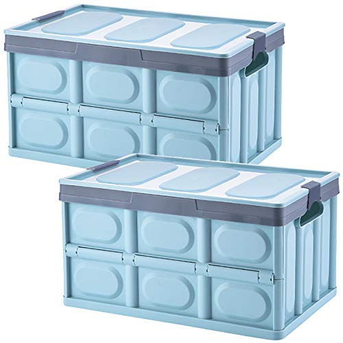 Tuevob Collapsible Storage Boxes Crates 2 Pack 30L Lidded Storage Bins Plastic Tote Storage Box Container Stackable Folding Utility Crate for Clothes, Toy, Books,Snack, Shoe Grocery Storage Bin-Blue