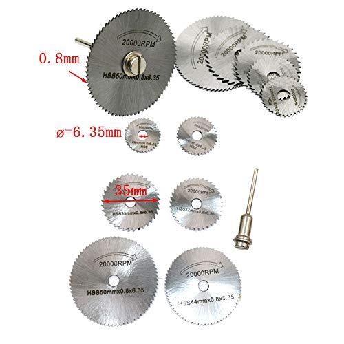 Shirt Luv 6pcs HSS Saw Disc Wheel Cutting Blades for Drills Rotary Tools + Mandrel Garden Home Improvement Tools
