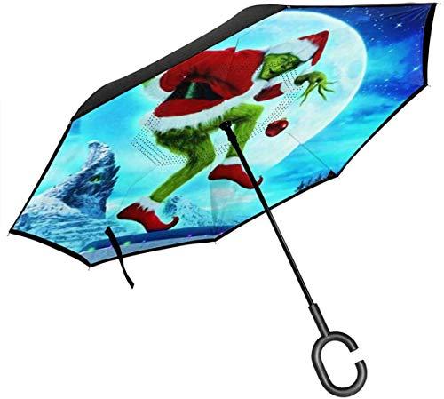 Cómo el Grinch robó el paraguas inverso del coche de Navidad, a prueba de viento y a prueba de lluvia doble plegable plegable con mango en forma de C, protección UV y paraguas plegable invertido