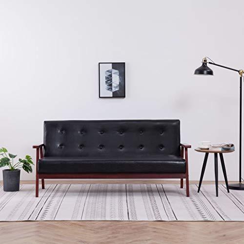 Benkeg Sofá de 3 Plazas Cuero Sintético Negro 158 X 67 X 73,5 Cm, Sofá de Salon Barato, Sofá Barato Sofás Cheslong