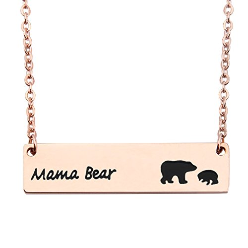 WUSUANED Rose Gold Sweet Mama and 1 Cub Bear Bar Necklace Gift for Mom Grandma Wife (1 cub Rose Gold)