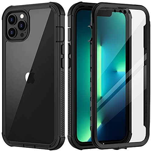seacosmo Coque iPhone 13 Pro 2021, Antichoc Housse Full Body Protection Étui [avec Protecteur d'écran], Bumper Portable Robuste Transparent Intégrale Coque pour iPhone 13 Pro 6,1 Pouces - Noir