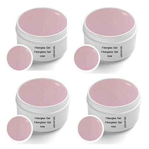 4 x 30 ml Gel de Fibreglass UV Rose Clear Premium Line – finition, adhésif en gel – Top Coat – High Gloss monophase Gel