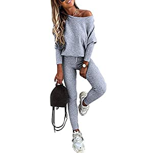 Women's Casual Two Piece Outfit Long SleeveTops with Leggings Active Tracksuit  Lounge Wear