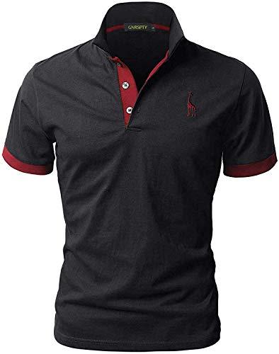 GNRSPTY Hombre Polo de Manga Corta Bordado de Ciervo Deporte Golf Camisa Poloshirt Negocios Camiseta de Tennis Verano T-Shirt,Negro,L